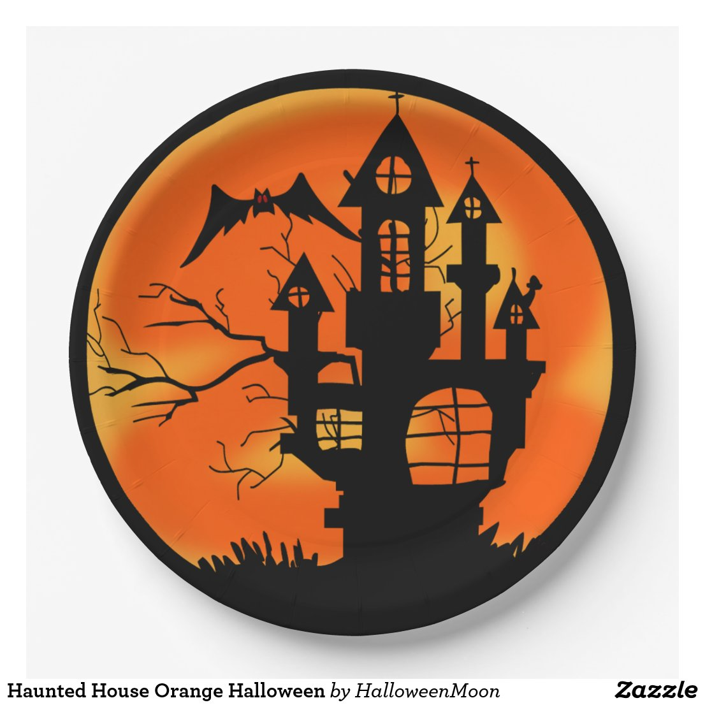 Haunted House Orange Halloween Paper Plate
