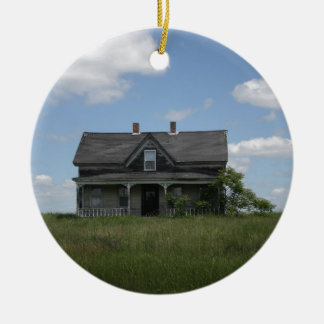 Haunted House Double-Sided Ceramic Round Christmas Ornament