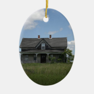 Haunted House Double-Sided Oval Ceramic Christmas Ornament