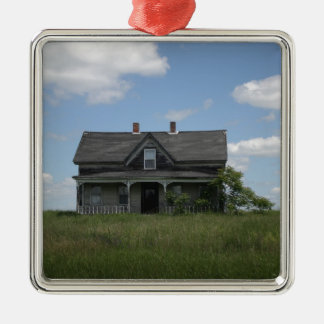 Haunted House Square Metal Christmas Ornament