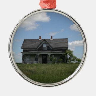 Haunted House Round Metal Christmas Ornament
