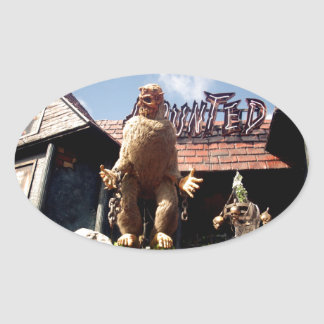 Haunted_House,_ Oval Sticker