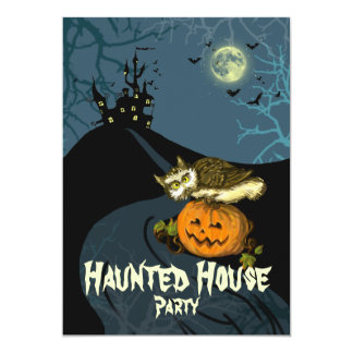 Haunted house party pumpkin owl vintage scary tree card