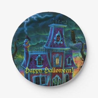 Haunted House Portrait Party Paper Plate 7 Inch Paper Plate