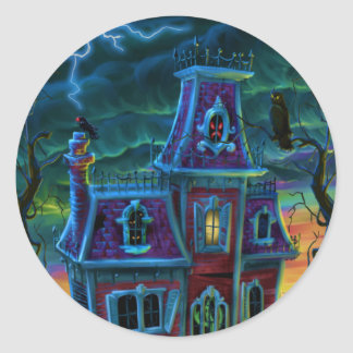 Haunted House Portrait Classic Round Sticker