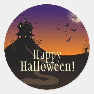 Haunted House pumpkin owl Classic Round Sticker