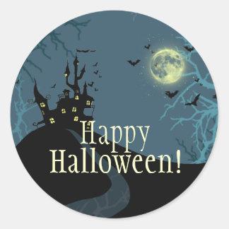 Haunted House pumpkin owl creepy trees Classic Round Sticker
