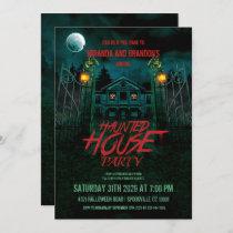 Haunted House Pumpkins Moon Bats Halloween Party Invitation