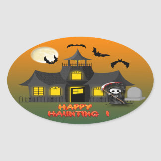 Haunted House Reaper Oval Sticker