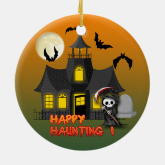 Haunted House Reaper Round Ornament