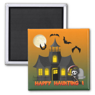 Haunted House Reaper Square Magnet