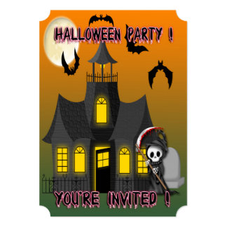 Haunted House Reaper Ticket Style Invitations