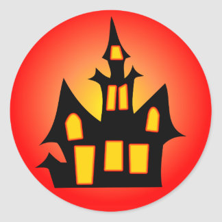 Haunted House Red Classic Round Sticker