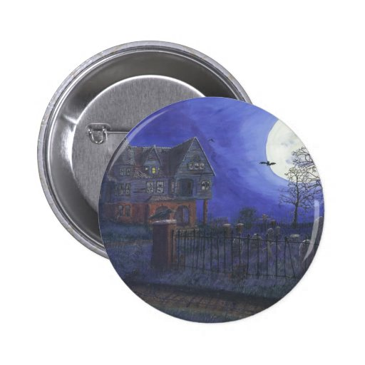 Haunted House Round Button