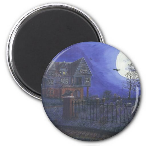 Haunted House Round Magnet