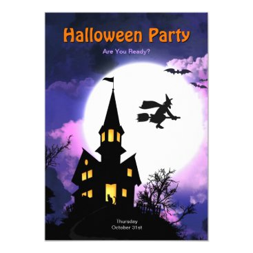 Halloween Themed Haunted House Scary Halloween Party Card