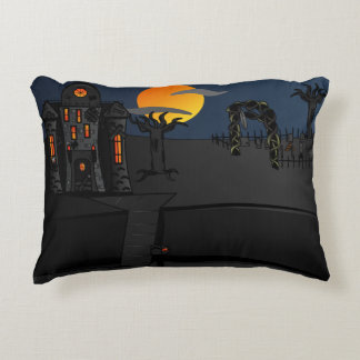 Haunted House Scene Accent Pillow