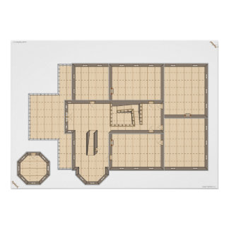 Haunted House, Second Floor, a game map. Poster