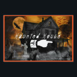 """Haunted House Sign<br><div class=""""desc"""">Halloween is just a few weeks away. This design features a creepy hunted house with ghost and a foggy grave yard and bats are flying in the sky. The Harvest moon is is shining orange as a crow fly&#39;s by.Haunted house is written in a scary skull font and a hand...</div>"""
