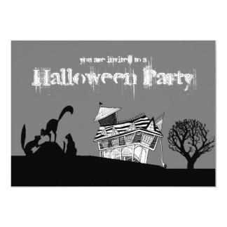 "Haunted House & Silhouette Cats Halloween Invite 5"" X 7"" Invitation Card"