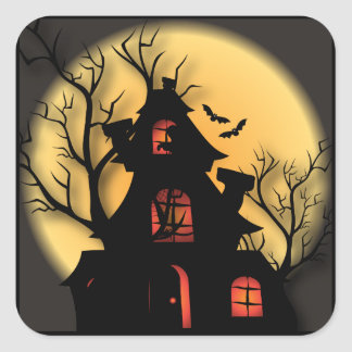 Haunted House Silhouette   Halloween Square Sticker