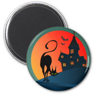 HAUNTED HOUSE, SPIDER, WEB & CAT by SHARON SHARPE 2 Inch Round Magnet
