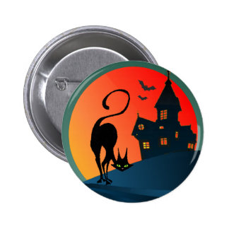 HAUNTED HOUSE, SPIDER, WEB & CAT by SHARON SHARPE Pinback Button