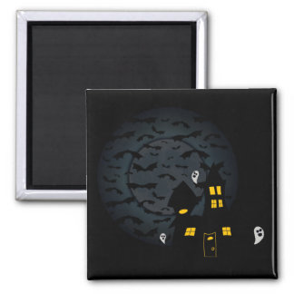 Haunted House Square Halloween Magnet