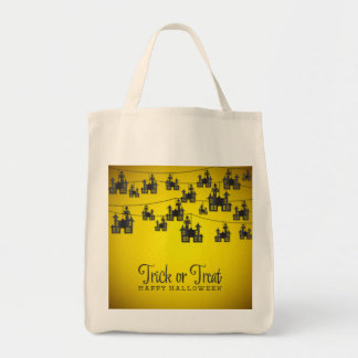 Haunted house string tote bag