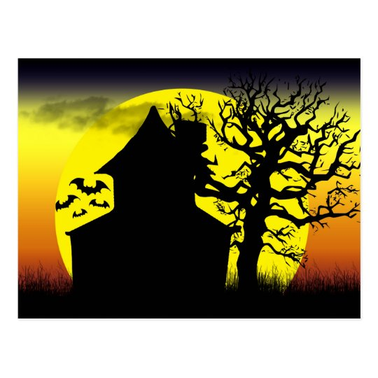 Haunted House Sunset Postcard