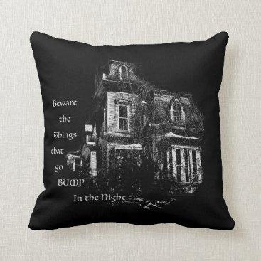 Halloween Themed Haunted House Throw Pillow