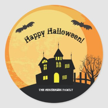 Halloween Themed Haunted house trick or treat stickers