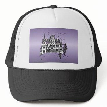 Halloween Themed Haunted House Trucker Hat