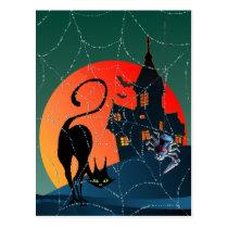 HAUNTED HOUSE, WEB & CAT by SHARON SHARPE Postcard