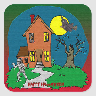 Haunted House, Witch and Mummy Sticker