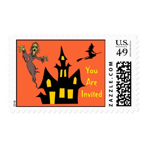 Haunted House Witch You're Invited Halloween Party Postage Stamp
