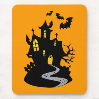 Haunted House with Bats Mouse Pad
