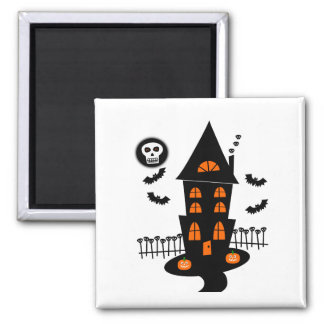 Haunted House With Bats, Skulls & Skull Moon 2 Inch Square Magnet