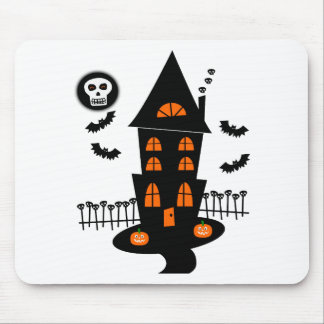 Haunted House With Bats, Skulls & Skull Moon Mouse Pad