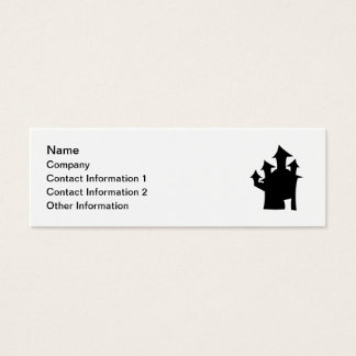 Haunted House with Four Towers. Black and White. Mini Business Card