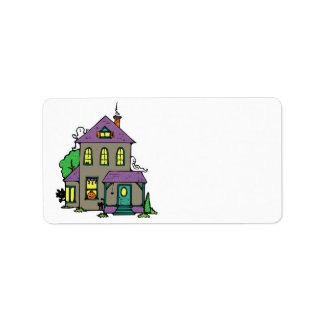 haunted house with ghosts address label