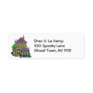 haunted house with ghosts return address label