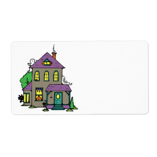 haunted house with ghosts shipping label