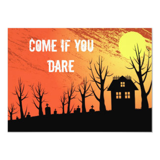 Haunted house with graveyard landscape card