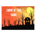 Haunted house with graveyard landscape invitation