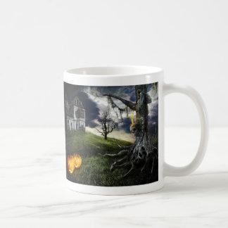 Haunted House with Jack O Lanterns On Halloween Mugs