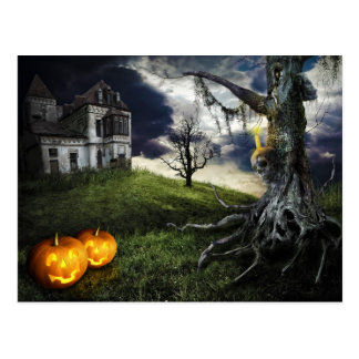 Haunted House with Jack O Lanterns On Halloween Postcard