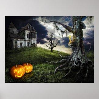 Haunted House with Jack O Lanterns On Halloween print