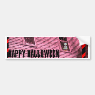 Haunted House with Scary Robot Bumper Sticker