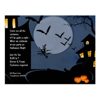 Haunted Houses and Witch Halloween Invitation Post Card